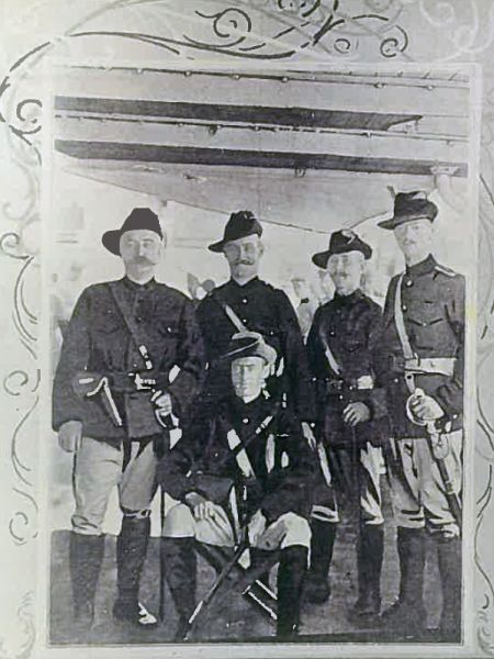 1st WAMI Officers - Standing L-R Maj G.F. McWilliams, Lieuts FMW Parker, J Campbell and HF Darling.  Seated OC Maj H.G.jpg